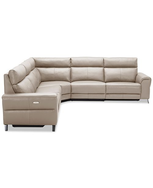 Leather Sectional Sofa With 3 Power Recliners: Furniture Raymere 5-Pc. Leather Sectional Sofa With 3