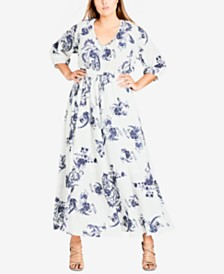 96ee47b881 City Chic Plus Size Floral-Print Flare Dress   Reviews - Dresses ...