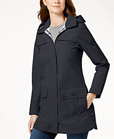 Barbour Hooded Plaid-Lined Raincoat