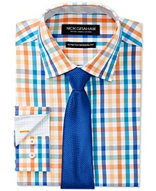 Men's Slim-Fit Stretch Easy-Care Multi Check Dress Shirt & Textured Solid Tie Set