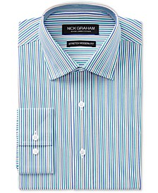 Men's Slim-Fit Stretch Easy-Care Multi Stripe Dress Shirt