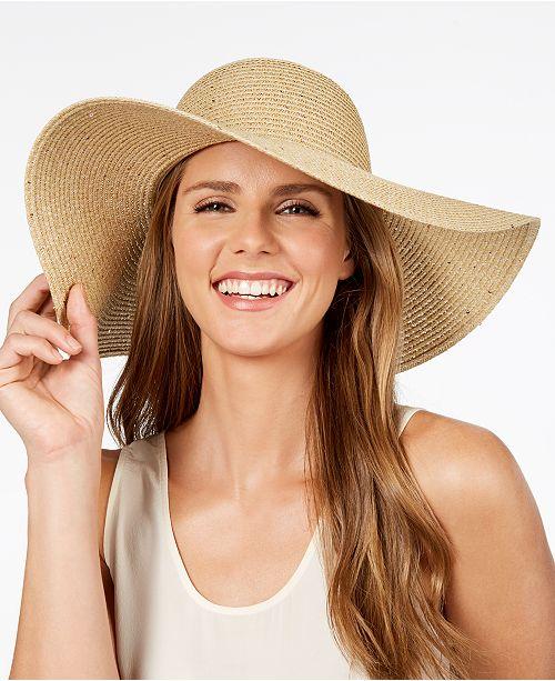 7c3233a1 Calvin Klein Metallic-Woven Floppy Hat & Reviews - Handbags ...