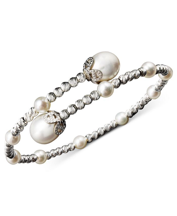 Macy's - Pearl Bracelet, Sterling Silver Cultured Freshwater Pearl (4-1/2mm and 8-1/2mm) Sparkle Bead Cuff Bracelet