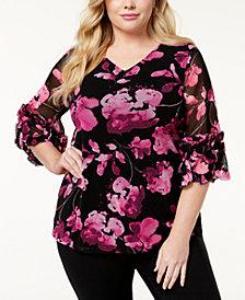 Alfani Plus Size Ruffled Mesh Blouse, Created for Macy's