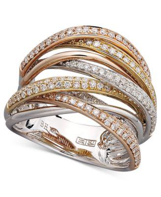 EFFY Diamond Overlap Ring 34 ct tw in 14k White Gold Yellow