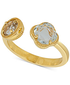 Prasiolite Cuff Ring (1-9/10 ct. t.w.) in 18k Gold-Plated Sterling Silver