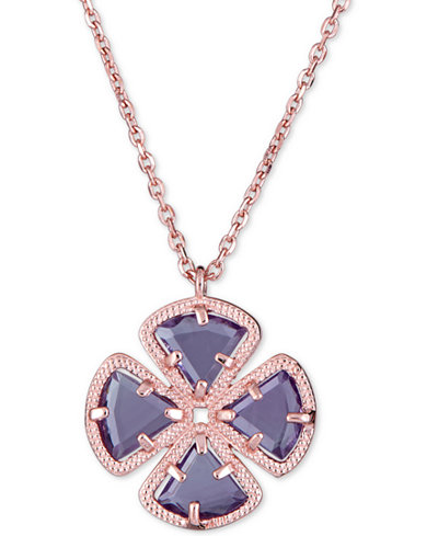 Amethyst Clover Pendant Necklace (2-3/4 ct. t.w.) in 18k Rose Gold-Plated Sterling Silver, 16 + 1