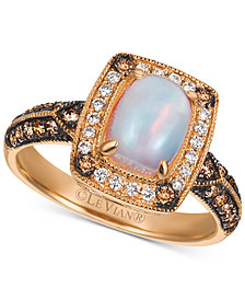 Le Vian Chocolatier® Neopolitan Opal™ (5/8 ct. t.w.) & Diamond (3/8 ct. t.w.) Ring in 14k Rose Gold