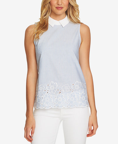 CeCe Embroidered Collar Top