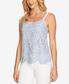 CeCe Striped Crochet-Contrast Top