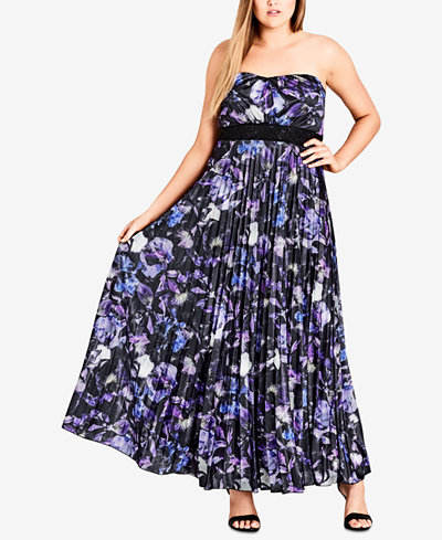 City Chic Trendy Plus Size Strapless Pleated Maxi Dress