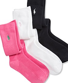Polo 3 Pack Knee High Socks, Little Girls & Big Girls