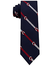 Tommy Hilfiger Men's Square Knot Stripe Slim Silk Tie