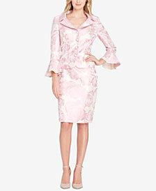 Tahari ASL Jacquard Ruffle-Sleeve Skirt Suit