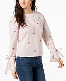 J.O.A. Cotton Embroidered Tie-Sleeve Top