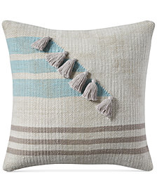 "Lucky Brand Stripe Tassel 18"" x 18"" Decorative Pillow, Created for Macy's"