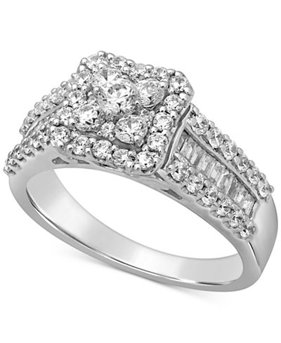 Diamond Halo Cluster Engagement Ring (1-1/3 ct. t.w.) in 14k White Gold