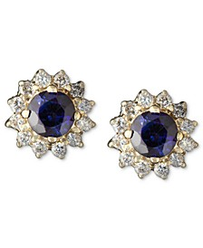 Royalty Inspired by EFFY® Sapphire (5/8 ct. t.w.) and Diamond (1/4 ct. t.w.) Round Stud in 14k Gold, Created for Macy's