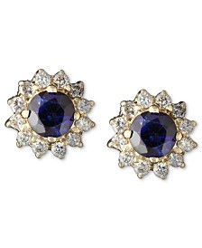 Royalty Inspired by EFFY Sapphire (5/8 ct. t.w.) and Diamond (1/4 ct. t.w.) Round Stud in 14k Gold, Created for Macy's