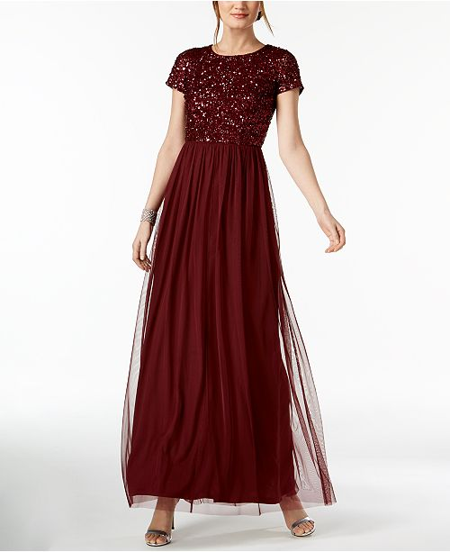 Adrianna Papell Sequined Tulle A-Line Gown & Reviews ...