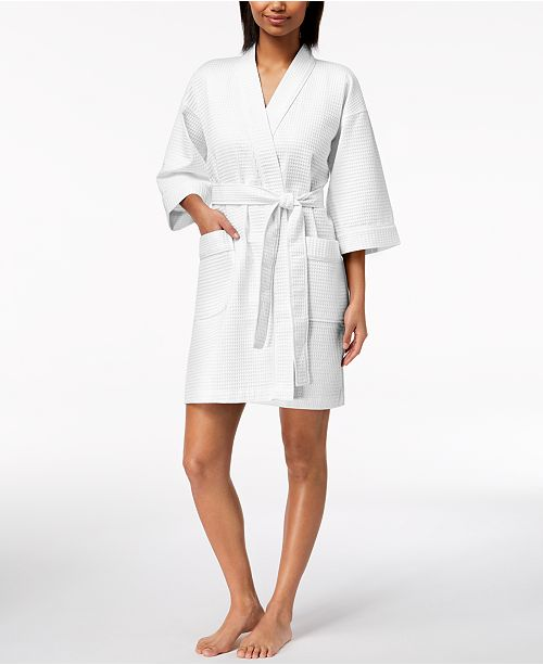 White Bright Created Club Spa Macy's Waffle Robe Short Charter for nwOzqRFS8x