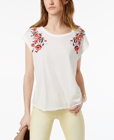 Carbon Copy Embroidered Cuffed Top