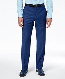 Sean John Men's Classic-Fit Stretch Solid Blue Textured-Grid Suit Pants