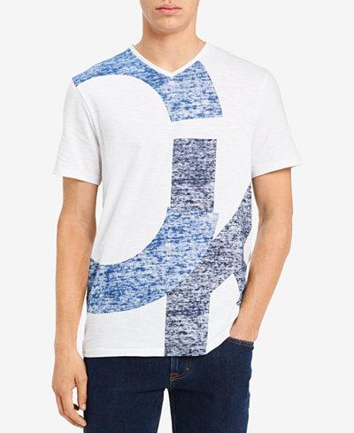 Calvin Klein Jeans Men's CK Overlap Logo-Print V-Neck T-Shirt