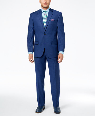 Sean John Men's Classic-Fit Stretch Solid Blue Textured-Grid Suit Separates
