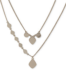 "DKNY Gold-Tone Sculptural Double-Row Pendant Necklace, 16"" + 3"" extender, Created for Macy's"