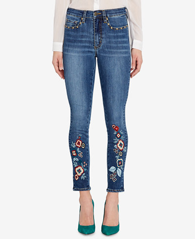 Buffalo David Bitton Faith Embroidered Studded Skinny Jeans