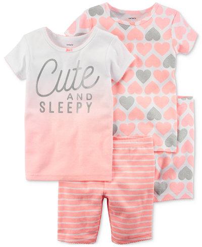 Carter's 4-Pc. Cute & Sleepy Cotton Pajama Set, Little Girls & Big Girls