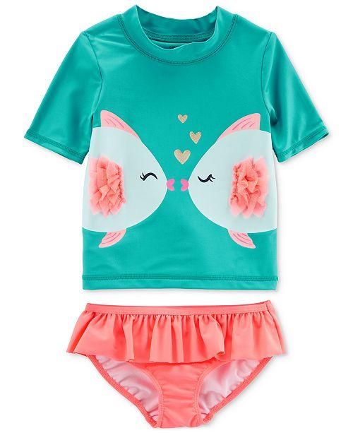 668320f42 Carter's 2-Pc. Kissy Fish Rash Guard Swimsuit, Toddler Girls ...