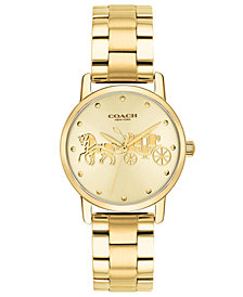 Coach Women S Grand Gold Tone Stainless Steel Bracelet Watch 28mm