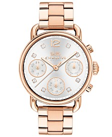 COACH Women's Chronograph Delancey Sport Rose Gold-Tone Stainless Steel Bracelet Watch 36mm