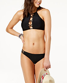 Hula Honey Juniors' Ring True High-Neck Bikini Top & Strappy Bottoms, Created for Macy's