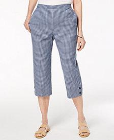Alfred Dunner Petite Perfect Match Gingham-Print Capri Pants
