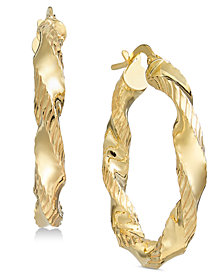 Giani Bernini Textured Twist Hoop Earrings, Created for Macy's