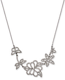 "I.N.C. Woman Silver-Tone Pavé Flower Pendant Necklace, 16"" + 3"" extender, Created for Macy's"