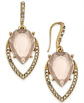 I.N.C. Gold-Tone Pavé & Colored Stone Navette Drop Earrings, Created for Macy's