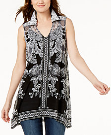 I.N.C. Printed Handkerchief Tunic, Created for Macy's