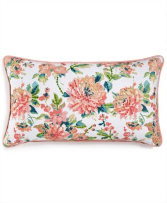 """LAST ACT! Julius 14"""" x 26"""" Embroidered Floral-Print Decorative Pillow, Created for Macy's"""