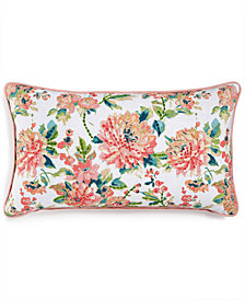 "LAST ACT! Lacourte Julius 14"" x 26"" Embroidered Floral-Print Decorative Pillow, Created for Macy's"