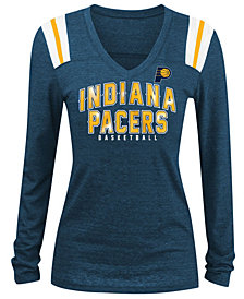 5th & Ocean Women's Indiana Pacers Foil Stripe Long Sleeve T-Shirt