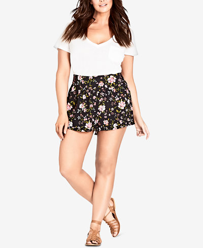 City Chic Trendy Plus Size Floral-Print Shorts