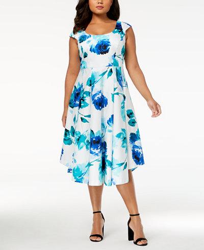 Calvin Klein Plus Size Cotton Floral-Print Midi Dress
