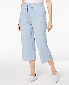 Karen Scott Petite French Terry Capri Pull-On Pants, Created for Macy's