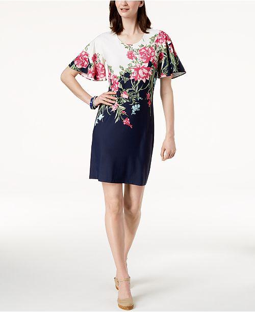 Petite Flutter-Sleeve Dress, Created for Macy's