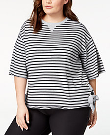 Calvin Klein Performance Plus Size Striped Drop-Shoulder Side-Tie Top