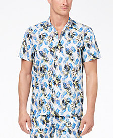 Con.Struct Men's Yellow Pineapple-Print Shirt, Created for Macy's